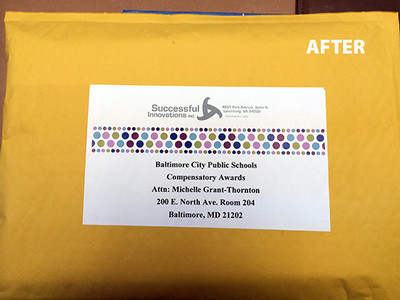 """Successful Innovations Mailing Label """"After"""" Shot"""