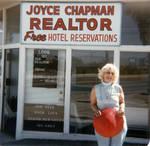 Joyce Chapman outside the Chapman Building, Palm Springs, California, 1960