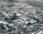 Aerial view of the Chapman College campus, Orange, California, 1966