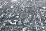 Aerial view of the Chapman College campus, Orange, California, 1973