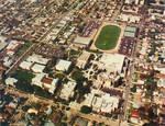 Aerial view of the Chapman College campus, Orange, California