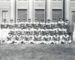 Panthers Baseball team in front of Memorial Hall, Chapman College, Orange, California