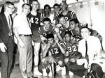 Chapman College basketball team in the locker room after tournament, 1965