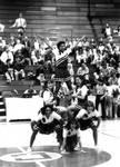 Cheerleaders form a stack, Chapman College, Orange, California, 1984