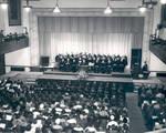 Graduation ceremony in the auditorium of Memorial Hall, Chapman College, Orange, California