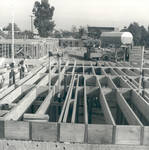 Davis Community Center and Apartments in framing stage, Chapman College, Orange, California
