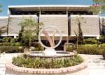 Library mall and Thurmond Clarke Memorial Library, Chapman College, Orange, California