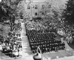 Graduation ceremony in the Shady Quad, Chapman College, June, 1960