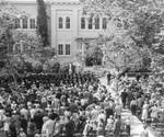 Commencement in the Shady Quad by Wilkinson Hall, Chapman College
