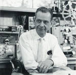 Berndt at workbench in his home shop, 1962