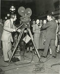 Filming television interview, 1954