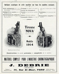 "Tireuse ""Nova"" Modèle 1914 Projector advertisement"