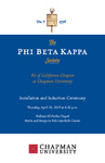 2019 Phi Beta Kappa Installation and Induction Ceremony Program by Phi Beta Kappa, Psi of California Chapter at Chapman University