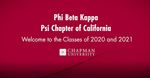 Phi Beta Kappa Psi Chapter of California Welcome to the Classes of 2020 and 2021